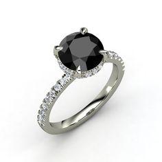 Round Black Diamond Platinum Ring with Diamond | Carrie Ring | Gemvara