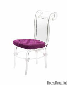 Lucite chair with purple seat pretty cute. <3 But I like to have this chair with a aqua or turquoise color for my room :) <3