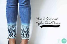 DIY Bleach-Dipped Aztec Jeans @ mintedstrawberry.blogspot.com