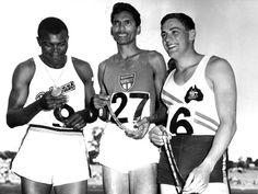 Seraphino Antao after recieving the 100 yard sprint gold medal, November 1962