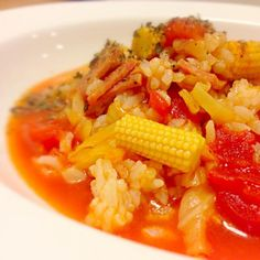 ビアソーセージ、キャベツ、ヤングコーン、トマト。 冷蔵庫整理メニューです(・ω・)) - 75件のもぐもぐ - 野菜たっぷりトマトリゾット by cmry