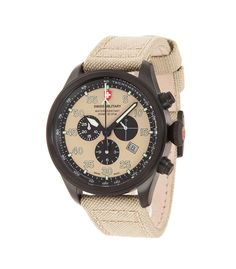M's Swiss Military chronograph Hawk Nero Rawhide EL ALAMEIN, Swiss Made quartz chronograph mvt. Ronda cal. 5030, 13 jewels, khaki dial, black PVD stainless steel case, screw-down winding crown, sapphire crystal, khaki coloured genuine canvas strap. 20 ATM. Case 44mm. rrp = USD 876