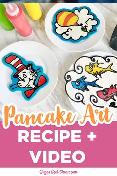 How to make your own pancake art using pancake mix, food coloring, and squeeze bottles! How to get the right consistency, coloring, and nail that flip! Full video tutorial, tips, and tricks for the perfect pancake art! Liquid Food Coloring, Yellow Food Coloring, Cake Decorating Store, Cake Decorating Tutorials, Cake Recipes From Scratch, Best Cake Recipes, Pancakes Recipe Video, Pancake Art, How To Make Pancakes