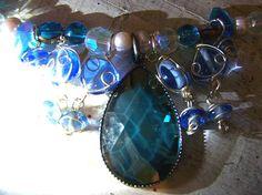 Sweet Tart Ocean Blue Victorian Gothic Choker by AtropineSteele, $34.00