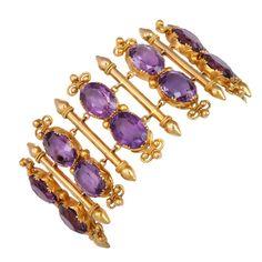 Purple Passion in a Victorian Amethyst Bracelet | From a unique collection of vintage link bracelets at https://www.1stdibs.com/jewelry/bracelets/link-bracelets/
