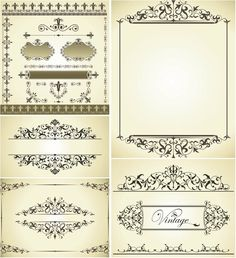 Vintage decorative wedding frames vector; DOWNLOAD