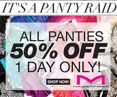 Maidenform: 50% off ALL panties + promo code + FREE shipping!! Today only!! 6/16/13
