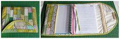 Capa para Agenda (Patchwork) em tecido de algodão, forrada e entremeada com manta acrílica.