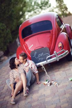 "The inspiration for the ""LOVE makes the world go round"" station literally was inspired by the ultra fab couple Matt + Jenaya. Volkswagen, Car Engagement Photos, Tumblr Couples, Beetle Car, Cute Cars, How To Pose, Love Bugs, Car Girls, Vw Beetles"