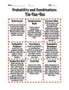 Probability and Combinations TicTacToe Extension Activities