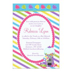 Shop Candy Stripes Bat Mitzvah Invitation created by printcreekstudio. Personalize it with photos & text or purchase as is! Bat Mitzvah Invitations, Kids Birthday Party Invitations, Birthday Party Themes, Custom Invitations, Candy Invitations, Birthday Ideas, Sweet 16 Birthday, 16th Birthday, Bat Mitzvah Themes
