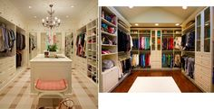 Both feature colorful hanging clothes and a similar style of furniture, but the closet on the left (http://www.houzz.com/photos/5315709/Broadmoor-Residence-traditional-closet-seattle) feels high end while the one on the right (http://www.houzz.com/photos/5475237/Amazing-closet-that-feels-like-a-high-end-boutique-traditional-closet-other-metro) doesn't. I think the mirrored back wall vs. the busy back wall makes the difference. And the dark floor.