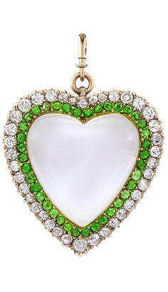 Antique Gold, Rock Crystal, Diamond and Demantoid Garnet Heart Pendant-Brooch. One heart-shaped cabochon rock crystal ap. 23.0 x 22.0 x 7.0 mm., 38 old-mine & single-cut diamonds ap. 1.90 cts., c. 1900.