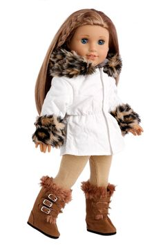 Ivory parka with leopard faux fur trim around the hood and sleeves with beige leggings and winter boots. Now she is ready for even the coldest weather. She can go outside without the worry of getting cold.    Our doll clothes fits 18 inch American Girl dolls. Designed in the USA and sold Exclusively by DreamWorld Collections. DOLL(S) NOT INCLUDED U.S. CPSIA CHILDREN'S PRODUCTS SAFETY CERTIFIED