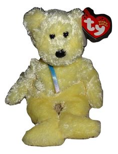93a2dc18756 Beanie Baby TY Sherbet Yellow Plush Bear PE Pellets 2001 Heart Tag Mint TH   Ty