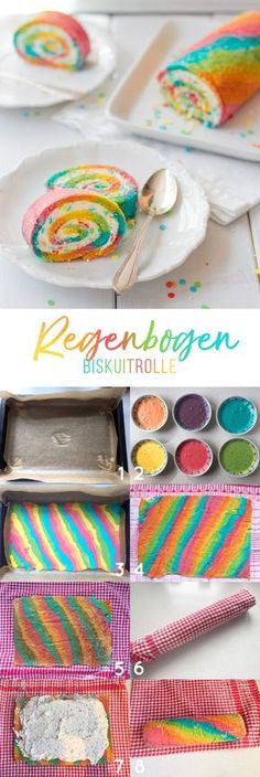 Regenbogen Biskuitrolle! Perfektes Rezept für eine bunte Einhornparty. Backwaren, Baking Recipes, Cake Recipes, Birthday Cake, Rainbow Food, Rouladen, Cake Cookies, Cupcake Cakes, Cupcakes
