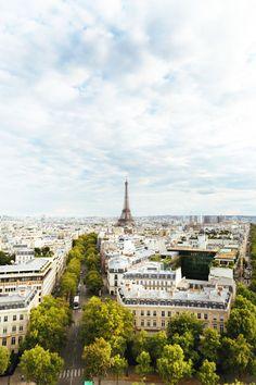 Gorgeous view of Paris & Eiffel tower from Arc De Triomphe.