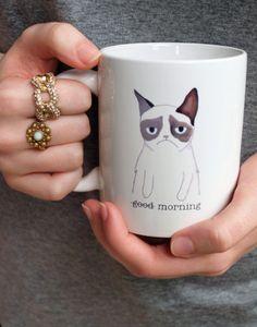 Ceramic Mug from a Grumpy Cat