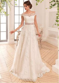 Buy discount Allure Tulle & Satin Off-the-shoulder Neckline A-Line Wedding Dresses With Lace Appliques at Dressilyme.com