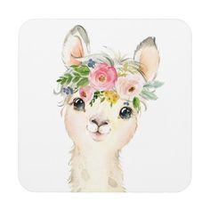 Customizable Hard plastic coaster made by FUJIFILM. Baby Animal Drawings, Cute Drawings, Hard Drawings, Watercolor Animals, Watercolor Paintings, Llama Drawing, Alpacas, Animal Paintings, Nursery Art