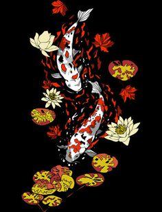 coi fish swimming around lotus flowers :)