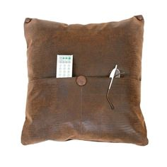 POCKET PILLOWS, Faux Textured Brown Leather Animal Print Reptile, Gadget Remote Holder, Apartment, Dorm Decor,  Organized Space Saver 20x20. $69.00, via Etsy.