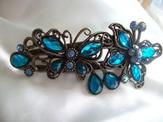 Large Butterfly Hair Pin Jewelry with Blue Crystals~free shipping $8.00
