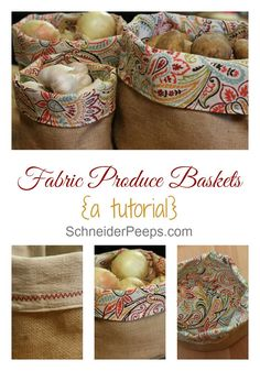 another pinner said: Not sure how to keep potatoes, onions and garlic handy and yet, tidy? These burlap produce baskets are the answer. This post has a full tutorial so you can make them to match your kitchen. Burlap Projects, Burlap Crafts, Fabric Crafts, Sewing Crafts, Sewing Projects, Craft Projects, Diy Crafts, Produce Baskets, Produce Bags