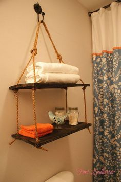 16 clever and stylish bathroom storage ideas :: Hometalk--only 1 hole in wall