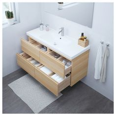 GODMORGON Sink cabinet with 4 drawers IKEA Limited Warranty. Read about the terms in the Limited Warranty brochure. Ikea Bathroom Vanity, Bathroom Faucets, Bathroom Furniture, Office Bathroom, Basement Bathroom, Furniture Redo, Washroom, Antique Furniture, Master Bathroom