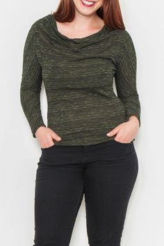Cowl neck long sleeve knit top. This comfortable top can be used as a layering piece over jeans or leggings makes for great casual wear.  Cowl Neck Top by Fashion Exit USA. Clothing - Sweaters - Cowl Neck Florida