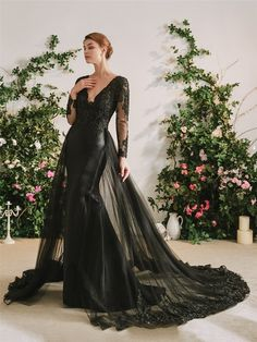 The Gothic Diva Black Wedding Dress – Goth Mall Goth Wedding Dresses, Black Wedding Gowns, Bridal Dresses, Bridesmaid Dresses, Black Wedding Decor, Gothic Wedding Ideas, Unique Wedding Dress, Gothic Wedding Cake, Halloween Wedding Dresses