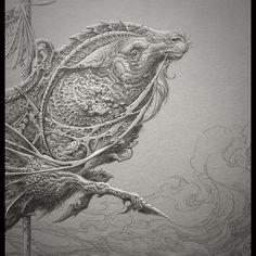 Capricorn Blues (detail) - pencil, gouache and watercolor on Stonehenge, 2015. #aaronhorkey #gildedage2015 #pleasureforever