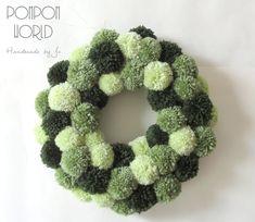 """Pom pom green wreath, Light dark green, 34 cm, 13"""", Fluffy Home decor, Home decoration, Wall decor, Door hanging, Pompom decoration"""