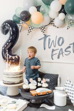 2nd Birthday Party For Boys, Second Birthday Ideas, Race Car Birthday, Race Car Party, Cars Birthday Parties, Baby Boy Birthday, Birthday Party Decorations, Second Birthday Cakes, Car Themed Birthday Party