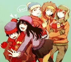 South Park - Stan, Wendy, Cartman, Kenny and Kyle