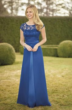 Sizes: 6-26  Electric plush lace bodice bridesmaid dress with chiffon overlay skirt.  Bridesmaids dresses are made to order and can take up to 12 weeks. Fabric swatches are available to order upon request – contact your local stockist. Not all sizes and colours sampled in store.  Click here to find your nearest stockist