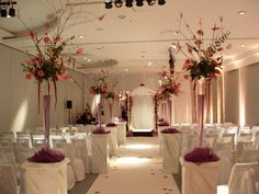 Stunning floral displays as you walk down the aisle at The Lowry Hotel.