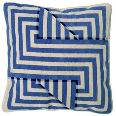 Needlepoint optical illusion cushion. Faded Blue.  #Cusions #Pillows
