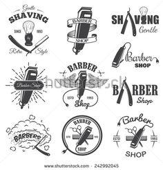 Set of vintage barber shop emblems, label, badges and designed elements. Monochrome linear style