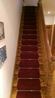 Red Carpet Runner On Natural Wood Stairs With Aluminium Rods By Bu0026R Carpet  Company #red