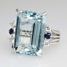 Huge 21.73ct t.w. 1980's Glorious Aquamarine, Diamond & Blue Sapphire Cocktail Ring 14k | Antique & Estate Jewelry | Jewelry Finds