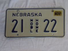Nebraska Metal License Plate, 1987 Mobile Home RV license plate