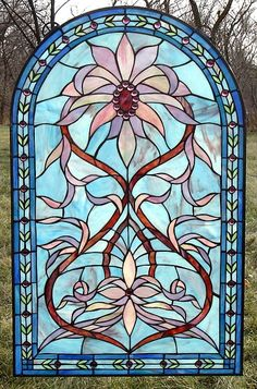 The Lady Slipper Arched Stained Glass Window