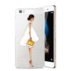 Caso para huawei p8 de compras chica de moda fundas coque teléfono casos para ascend huawei p8 lite suave de silicona de nuevo caso cubierta