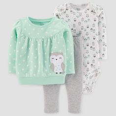 Baby Girls' Cotton Owl Dot Set - Just One You Made by Carter's Light Green Girls Winter Fashion, Baby Girl Fashion, Toddler Fashion, Kids Fashion, Cute Girl Outfits, Toddler Outfits, Kids Outfits, Baby Outfits, Carters Baby Girl