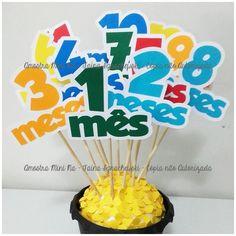 Topo de bolo Mesversário 1-12 Meses