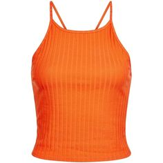 New Look Bright Orange Ribbed Crop Top ($8.43) ❤ liked on Polyvore featuring tops, spicy orange, strappy crop top, spaghetti-strap top, orange top, bright tops and ribbed crop top