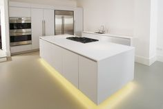 HomeSphere in Motion Flint - a neutral grey keeps the space warm and cosy, and is perfectly lit by under counter LEDs