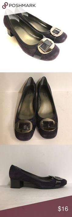 Deep purple heels from Ann Klein I flex heels Suede with leather trim. Heel is  just under 2 inches. I am not seeing any wear at all Anne Klein Shoes Heels